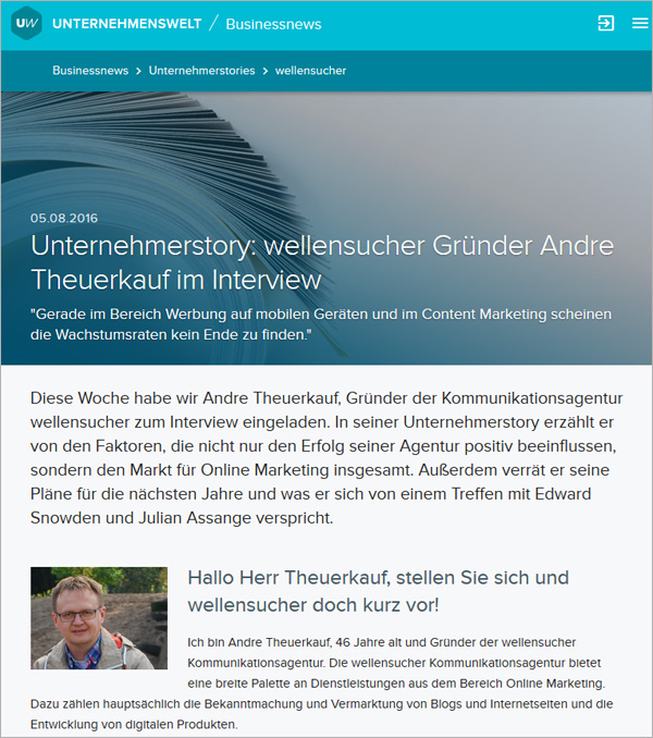 Screenshot unternehmenswelt.de
