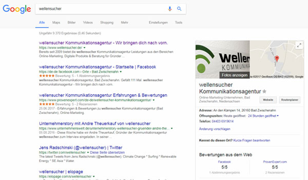 Screenshot: Google Suchergebnisliste